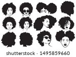set of female afro hairstyles.... | Shutterstock .eps vector #1495859660