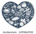 food in the heart  food set ... | Shutterstock .eps vector #1495862930