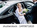 Bridegroom In Suit Giving Hand...