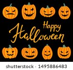 happy halloween greeting card.... | Shutterstock .eps vector #1495886483