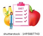 doctor offering diet plan flat... | Shutterstock .eps vector #1495887743