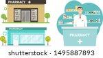 pharmacy building in a flat... | Shutterstock .eps vector #1495887893