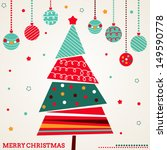 retro christmas card with tree... | Shutterstock .eps vector #149590778