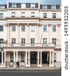 Small photo of LONDON, UK - 24 APRIL 2019: The facade to a traditional Georgian townhouse in the affluent Belgravia district of West London.