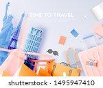 various travel attractions in... | Shutterstock .eps vector #1495947410