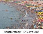 Crowded Beach At Lima  Peru