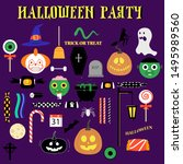halloween party. set of... | Shutterstock .eps vector #1495989560