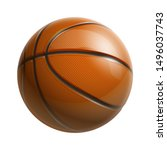3d realistic shiny basketball... | Shutterstock .eps vector #1496037743
