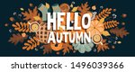 autumn horizontal banner with... | Shutterstock .eps vector #1496039366