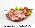 Pork Ham On Wooden Plate