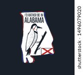 Vintage Alabama badge. Retro style US state patch, print for t-shirt and other uses. Included quote saying - I