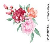 romantic watercolor flowers... | Shutterstock . vector #1496088539