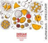indian food illustration. hand... | Shutterstock .eps vector #1496114249