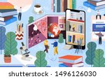 people communicate and gain... | Shutterstock .eps vector #1496126030