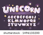 set of cute cartoon unicorn... | Shutterstock .eps vector #1496133200