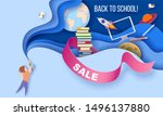 back to school sale background. ... | Shutterstock .eps vector #1496137880
