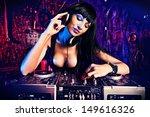 beautiful sexy dj girl working... | Shutterstock . vector #149616326
