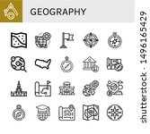 set of geography icons such as... | Shutterstock .eps vector #1496165429