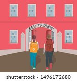 back to school a boy and a girl | Shutterstock .eps vector #1496172680