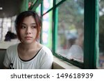 sad woman waiting someone who... | Shutterstock . vector #149618939