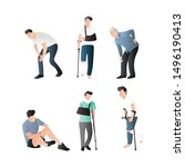 set of injury people. male... | Shutterstock .eps vector #1496190413