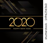 happy new year 2020 text design ... | Shutterstock .eps vector #1496256563