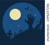 halloween zombie hand out of... | Shutterstock .eps vector #1496257256