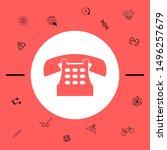 retro telephone icon. graphic... | Shutterstock .eps vector #1496257679