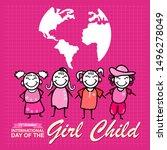 international day of the girl... | Shutterstock .eps vector #1496278049