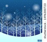 vector image. winter landscape... | Shutterstock .eps vector #1496300723