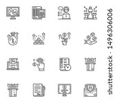 Financial Success Line Icons...