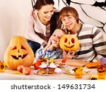 family on halloween party with... | Shutterstock . vector #149631734