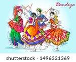 vector design of indian couple... | Shutterstock .eps vector #1496321369