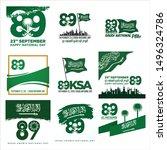 89 saudi arabia national day.... | Shutterstock .eps vector #1496324786