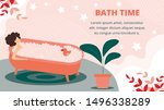 bath time horizontal banner.... | Shutterstock .eps vector #1496338289
