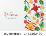 christmas greeting card with... | Shutterstock .eps vector #1496352470