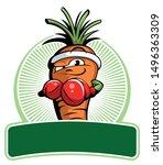 cartoon style carrot fighter... | Shutterstock .eps vector #1496363309