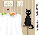 Illustration Of Black Cat...
