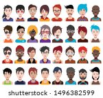 high quality 32 avatar  people...   Shutterstock .eps vector #1496382599