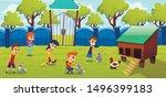 Stock vector petting zoo farm with cute domesticated animals cartoon vector concept little kids preschooler 1496399183