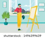 bearded artist cartoon... | Shutterstock .eps vector #1496399639
