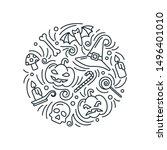 halloween card round concept in ... | Shutterstock .eps vector #1496401010