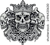 gothic sign with skull  grunge... | Shutterstock .eps vector #1496420630
