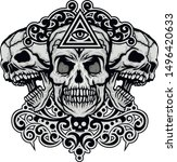 gothic sign with skull  grunge... | Shutterstock .eps vector #1496420633
