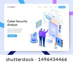 landing page template of cyber... | Shutterstock .eps vector #1496434466