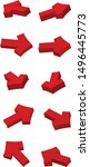 set of arrows  red arrows on a... | Shutterstock .eps vector #1496445773