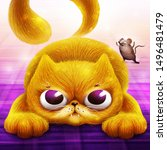 angry persian cat hunting a... | Shutterstock . vector #1496481479