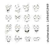 face expression set. vector...   Shutterstock .eps vector #1496491949