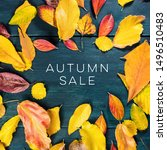 Small photo of Autum Sale. Discount banner or flyer design template with vibrant autumn leaves and copy space