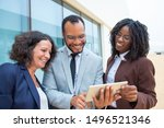 smiling business colleagues...   Shutterstock . vector #1496521346